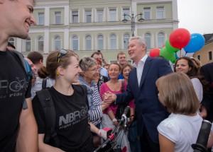 Мэр Москвы Сергей Собянин открыл пешеходное пространство на Большой Ордынке