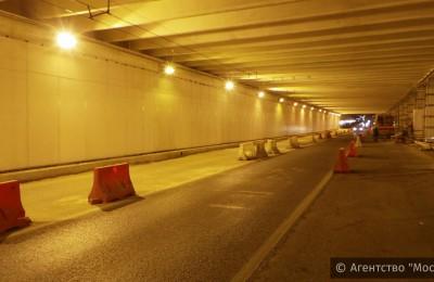 Движение по одной из полос Каширского тоннеля ограничат в ночное время до 10 октября