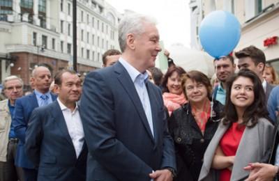 Мэр Москвы Сергей Собянин открыл пешеходное пространство вокруг детского магазина на Лубянке