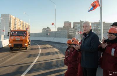 Мэр Москвы Сергей Собянин оценил строительные работы на участке Северо-Восточной хорды