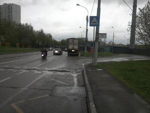 Отремонтированный дорожный знак в районе Орехово-Борисово Северное